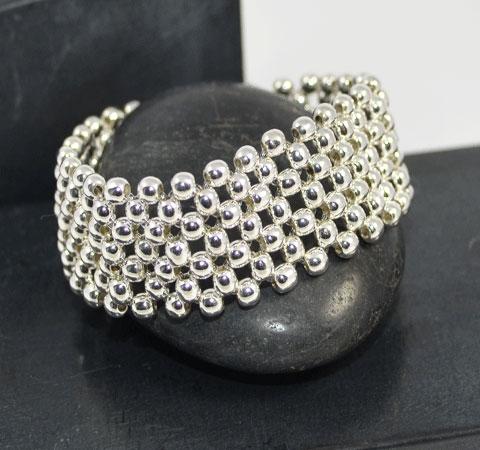 stretch silver ball bracelet