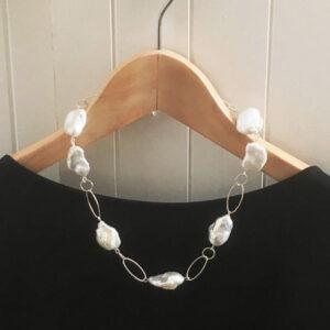 silver baroque pearl necklace
