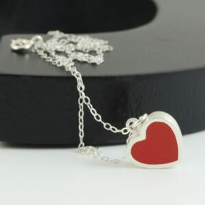 Red heart silver necklace