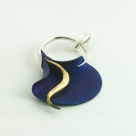 Open calla lily silver pendant. Handmade calla lily jewelry.