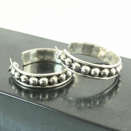 Mexican silver hoops earrings