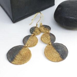 black gold disc earrings