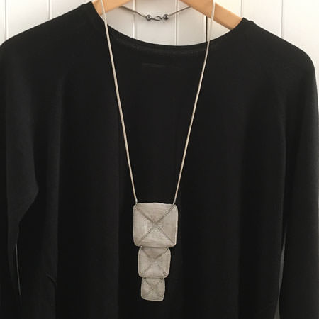 Long Milena Zu necklace in her usual contemporary and edgy style. Part of our large range of Milena Zu jewellery.