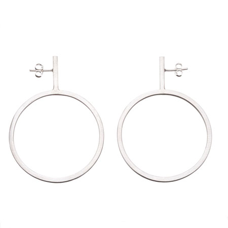 Dropped sterling silver hoops with posts.