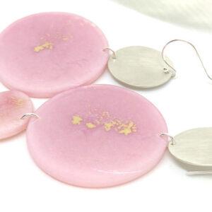 Long dahlia pink earrings