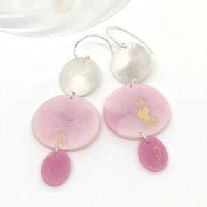 Pink silver earrings