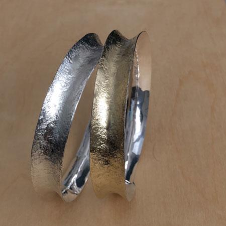 Textured silver bangle