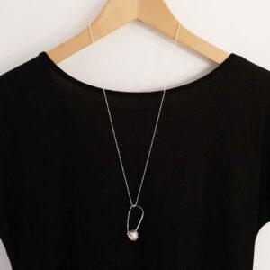 Long acorn silver pendant
