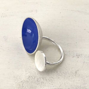 Sterling silver bubble ring blue