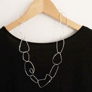 Open silver link necklace
