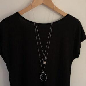 Long silver loop pendant