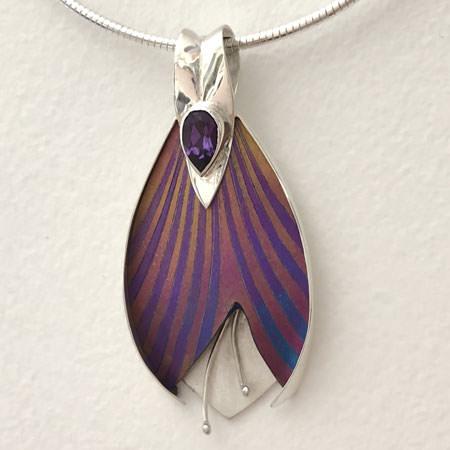 Purple dance silver pendant