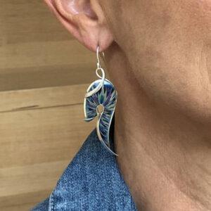 Blue splash silver earrings