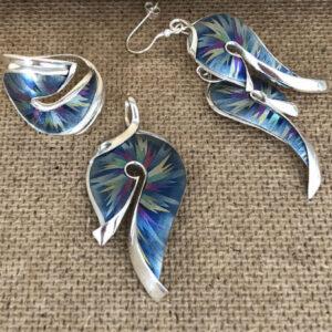 Blue splash silver pendant