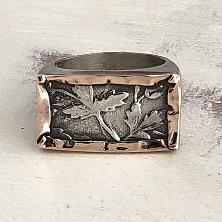 Large leaf etched silver ring