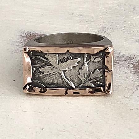 Large leaf etched silver ring