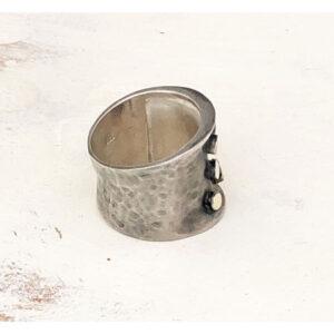 Wide dark silver ring