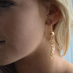Gold coin drop earrings