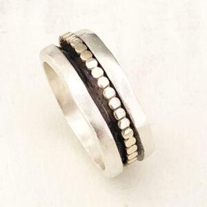 Matte silver spinner ring