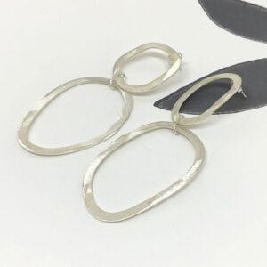 Double silver drop earrings