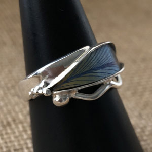 Blue niobium leaf ring