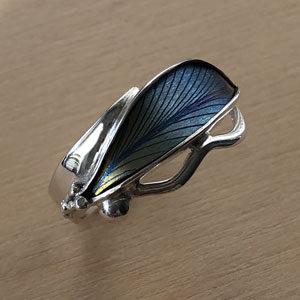 Blue niobium leaf ring