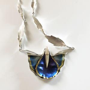 Unique blue poppy silver necklace