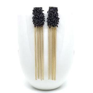 Black gold drop earrings