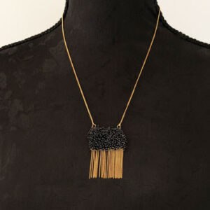 gold plated necklace with black beads