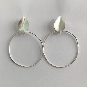 Large leaf hoop earrings