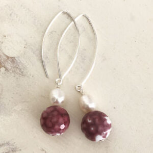 Red agate and pearl drop silver earrings