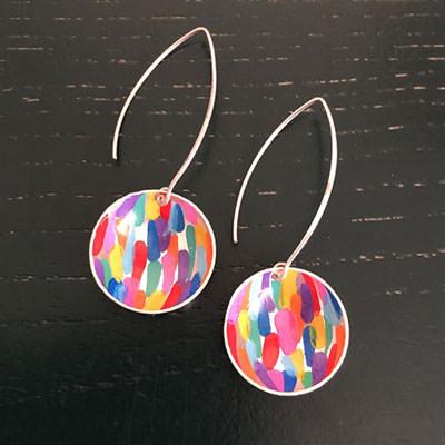 Long brushstroke silver earrings