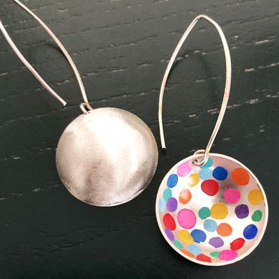 colourful silver earrings