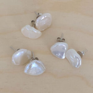 Keshi pearl studs