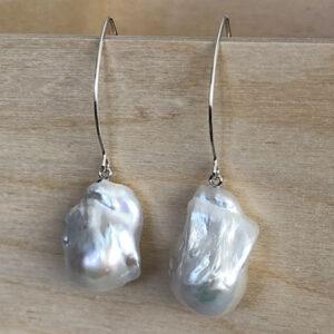 pearl earrings with fireball pearls