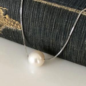 Silver pearl choker