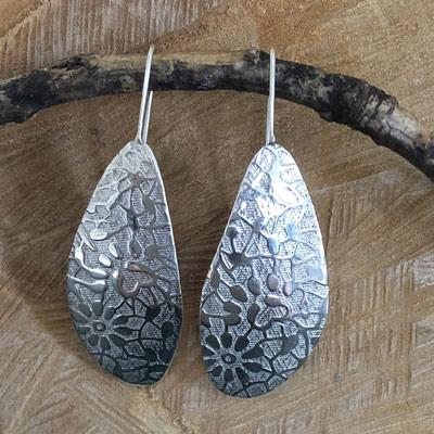 Handmade large silver earrings