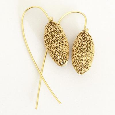 Gold mesh earrings