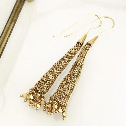 Gold drop mesh earrings