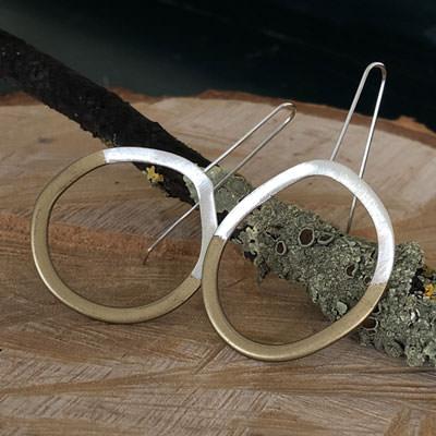 Modern silver circle earrings